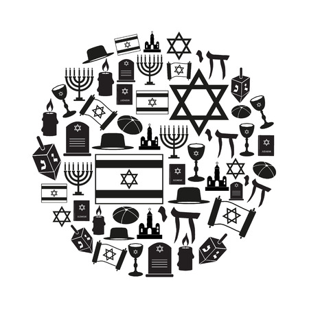 judah: judaism religion symbols vector set of icons in circle eps10