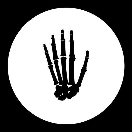 palm of hand: one human hand palm bones black icon eps10 Illustration