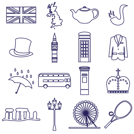 lamp post: United Kingdom country theme outline icons set eps10