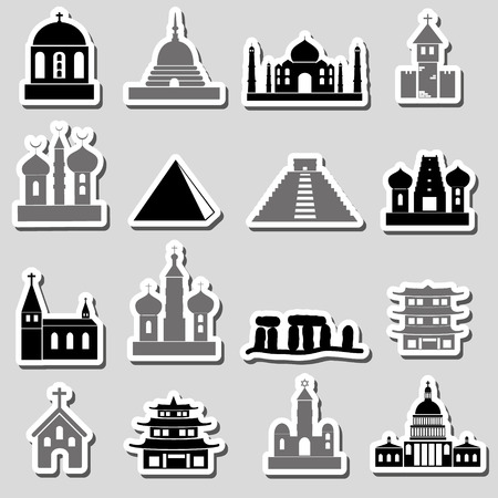 chapel: world religions types of temples stickers eps10 Illustration