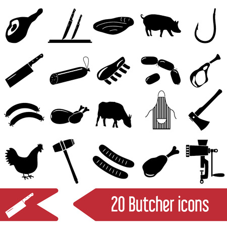 knive: butcher and meat shop black icons set eps10