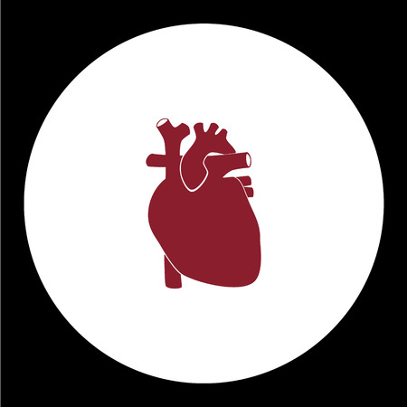 infarct: red human heart simple red icon eps10 Illustration