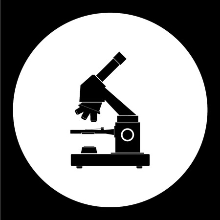 hospital germ: research microscope symbol simple black icon eps10