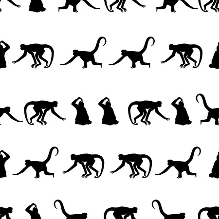 라인 패턴의 eps10에서 원숭이 검은 그림자 실루엣