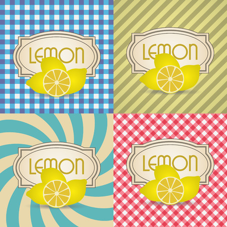 spiral: four types of retro textured labels for lemon products eps10 Illustration
