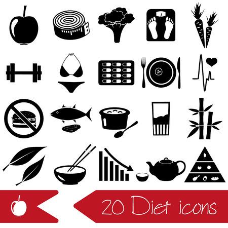 zanahoria: conjunto de la dieta y el estilo de vida saludable tema iconos negros eps10