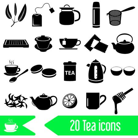 tearoom: tea theme black simple icons set eps10