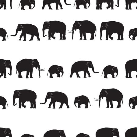 big head: vector black elephants walking seamless pattern eps10