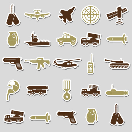 soldier with rifle: military theme simple stickers icons set eps10