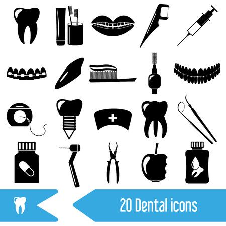 tooth pain: set of dental theme black icons eps10