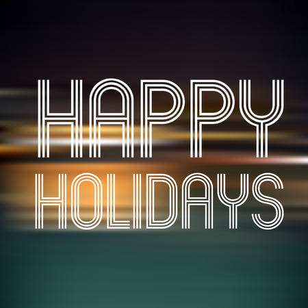 horizontals: happy holidays on dark color horizontal lines background   Illustration