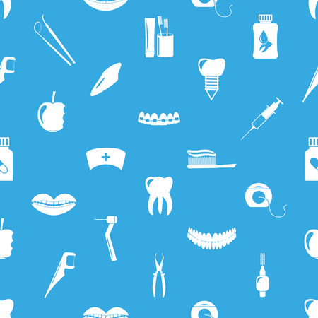 tartar: set of dental theme icons blue seamless pattern