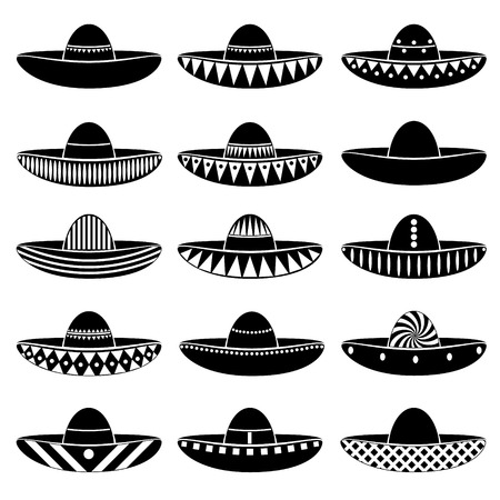 variations: Mexico sombrero hat variations icons set