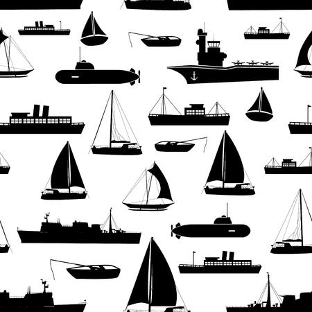 다양한 교통 해군 선박 원활한 패턴 아이콘