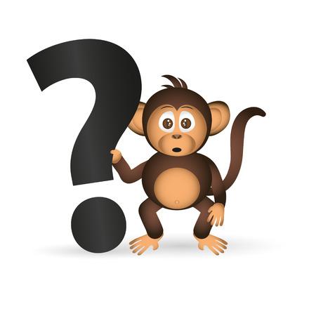 chimpanzé mignon petit singe et d'interrogation