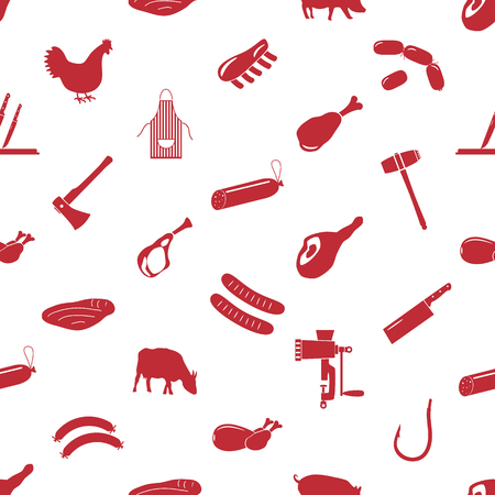 meat  grinder: butcher and meat shop icons seamless pattern