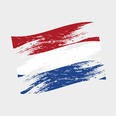 ragged: color netherlands national flag grunge style
