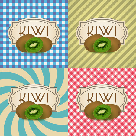 citric: four types of retro textured labels for kiwi products