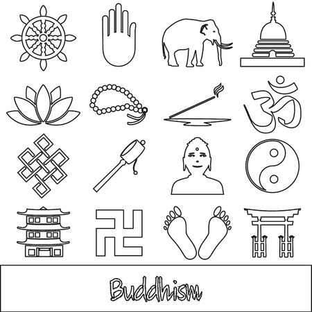 buddhism: buddhism religions outline symbols vector set of icons