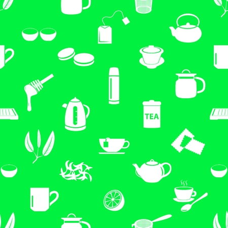 tea theme simple icons seamless pattern  Illustration