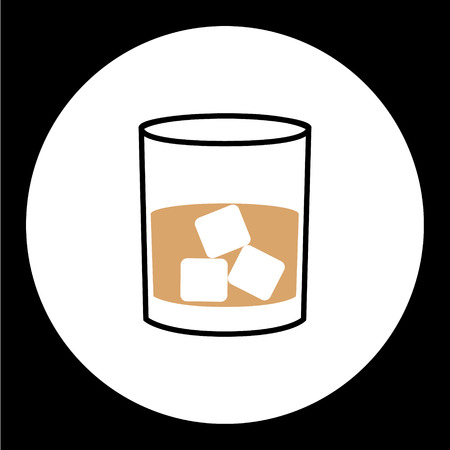 whisky glass: simple whisky glass with ice cubes icon eps10 Illustration