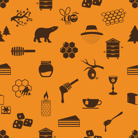 mead: set of honey theme icons seamless pattern  Illustration