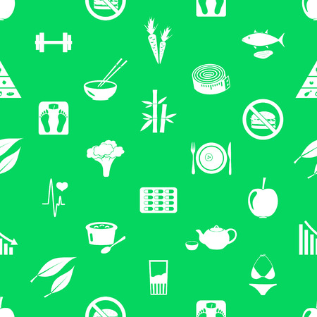 sartorial: set of diet and healthy life style theme icons seamless green pattern