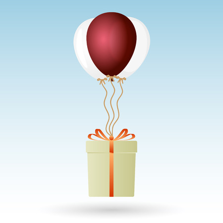 soaring: one big gift package soaring with helium balloons