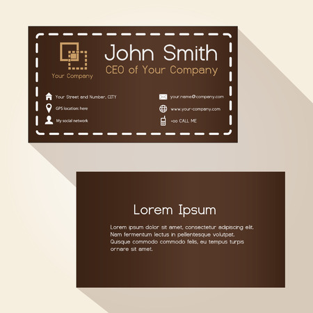 stitched: simple brown stitched like style business card design