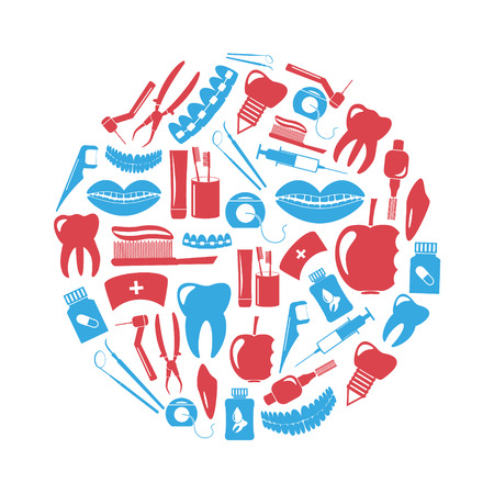 tartar: set of dental theme red and blue icons in circle