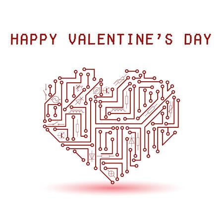 stampati rosso elettrico circuito cuore bordo per San Valentino