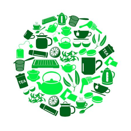 tea theme green simple icons set in circle Illustration