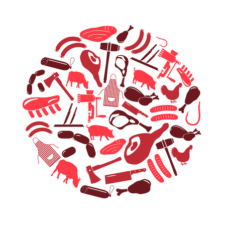 meat  grinder: butcher and meat shop icons set in circle  Illustration