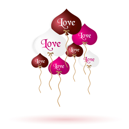 helium: color helium balloons heart shape with love message Illustration