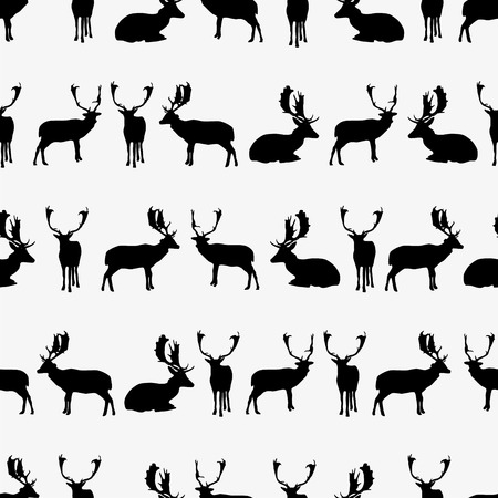 fallow deer black silhouette seamless pattern