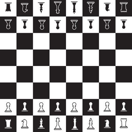 inteligent: chessboard with black and white opposite chess pieces  Illustration