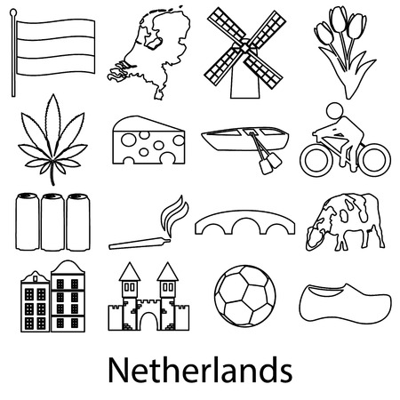 canabis: Netherlands country theme outline symbols icons set  Illustration