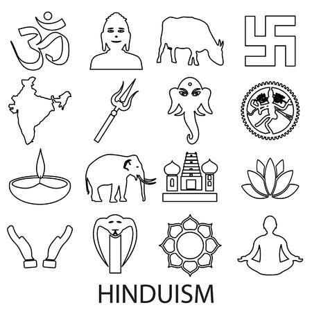 hinduismo: hinduismo religiones conjunto de símbolos de vector de iconos de esquema