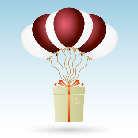 soaring: one big gift package soaring with seven helium balloons