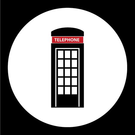 cabina telefonica: cabina de tel�fono negro simple icono aislado Vectores