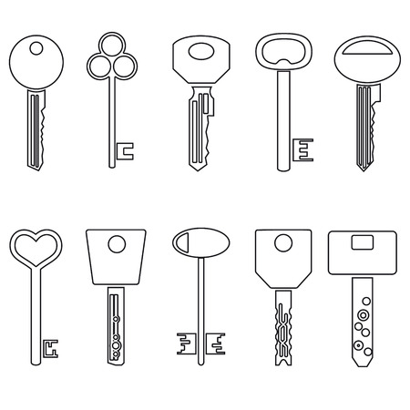 jailer: various black outline keys symbols for open a lock