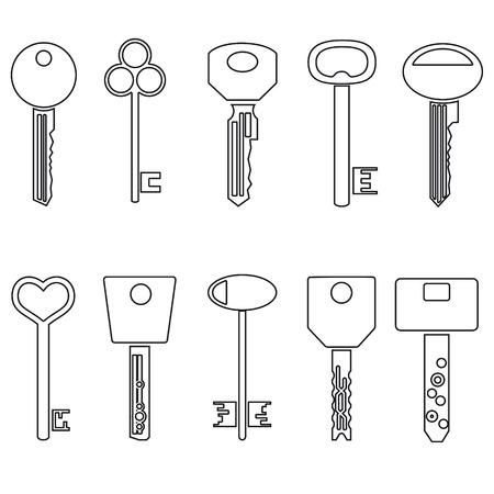 castle door: various black outline keys symbols for open a lock