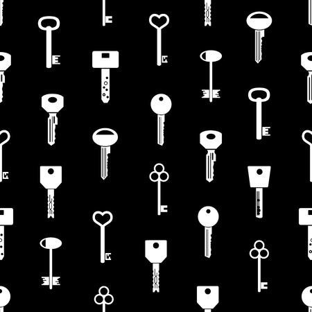 jailer: various keys symbols for open a lock black seamless pattern Illustration