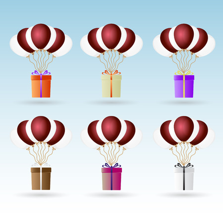 helium: gift package soaring with helium balloons icons set Illustration