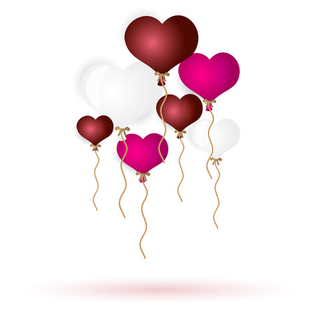 helium: colorful helium balloons heart shape for love and valentine