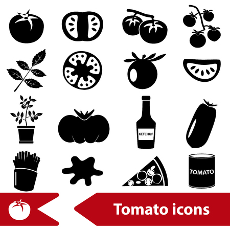 frites: tomatoes theme black simple icons set Illustration