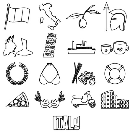 sights: italy country theme outline symbols and icons set