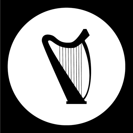 antic: isolated music harp simple black icon