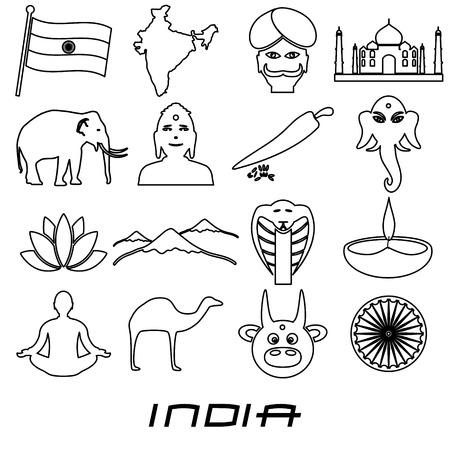 divali: india country outline theme symbols set Illustration