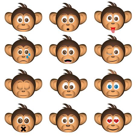 感情の表情でかわいいチンパンジーの頭  イラスト・ベクター素材